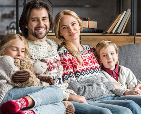 Family spending some quality time in the comfort of their home