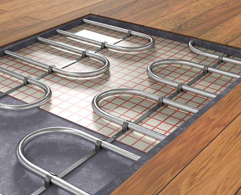 A radiant heat system is set up underneath a homeowner's wood floors.
